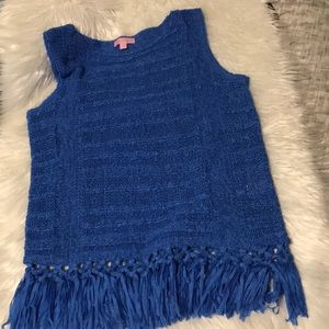Lilly Pulitzer blue woven knit tassel top